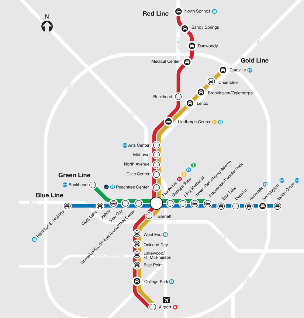 MARTA Train Map of Stations