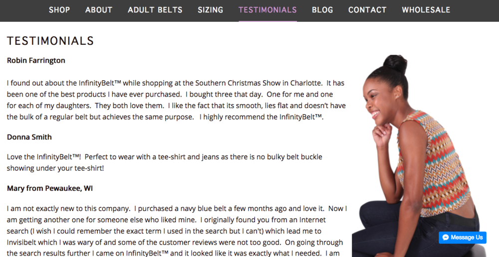 AFTER: Model displaying product looking at testimonials to draw your eye in.