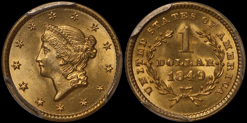 1849 Closed Wreath $1.00 PCGS MS66