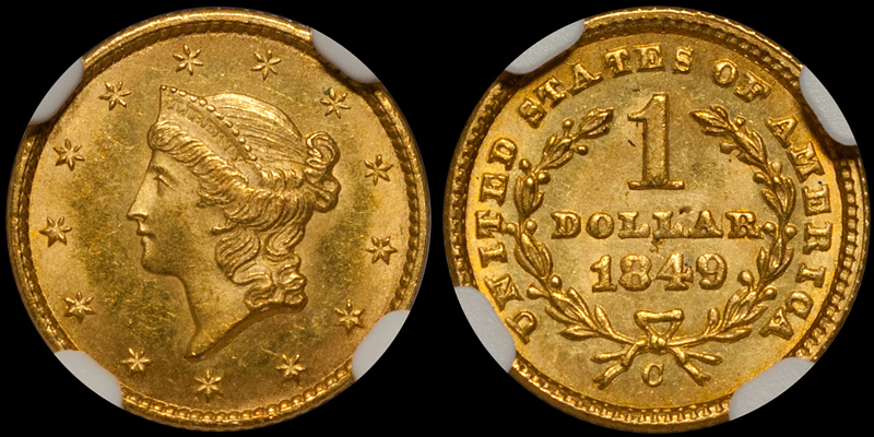 "1849-C ""Closed Wreath"" Gold $1.00 NGC MS64+ CAC"