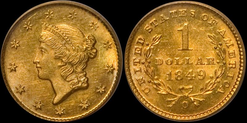 1849-O Gold $1.00 PCGS MS-64