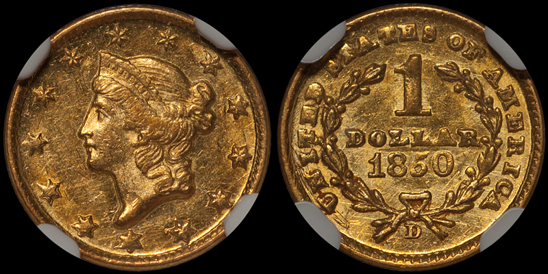 1850-D $1.00 NGC MS63