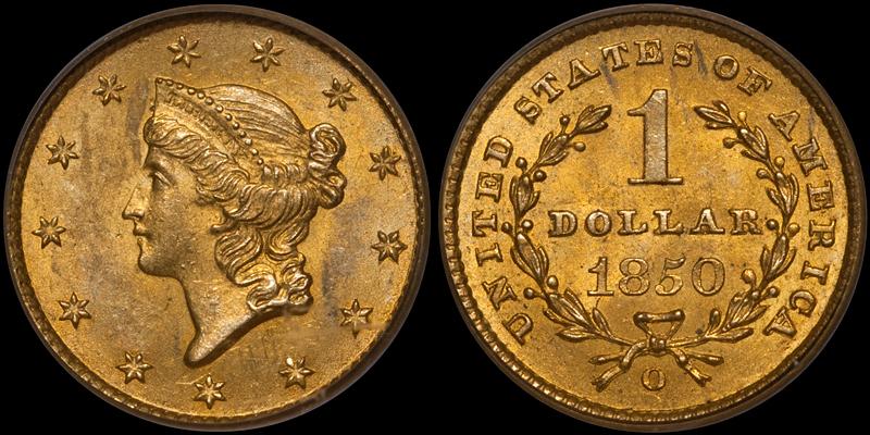 1850-O Gold $1.00 PCGS MS63