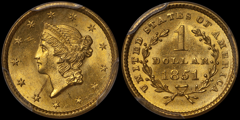 1851 $1.00 PCGS MS65