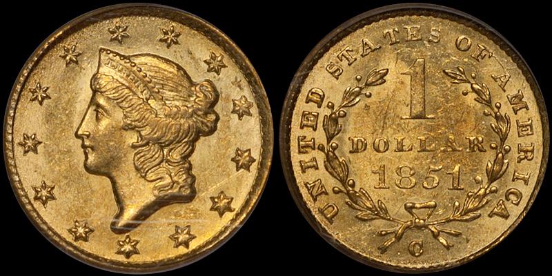 1851-C Gold $1.00 PCGS MS63