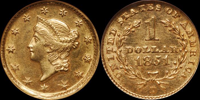 1851-D Gold $1.00 NGC MS63