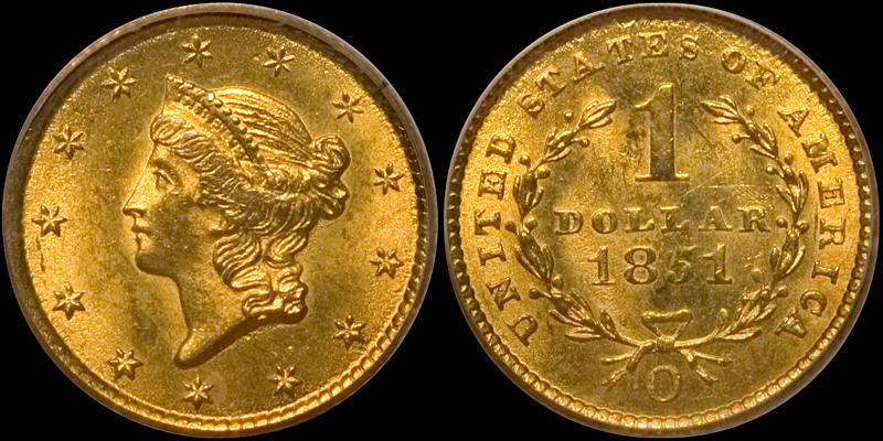 1851-O Gold $1.00 PCGS MS64