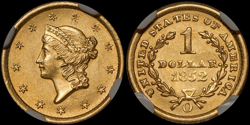 1852-O Gold $1.00 NGC MS63
