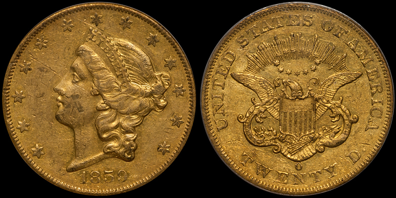 1859-O $20.00 PCGS AU53 CAC