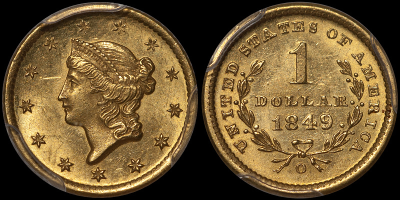 1849-O $1.00 PCGS MS64 CAC