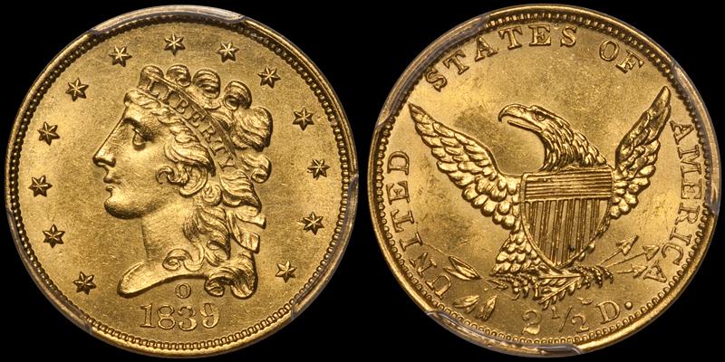 1839-O $2.50 PCGS MS62 CAC