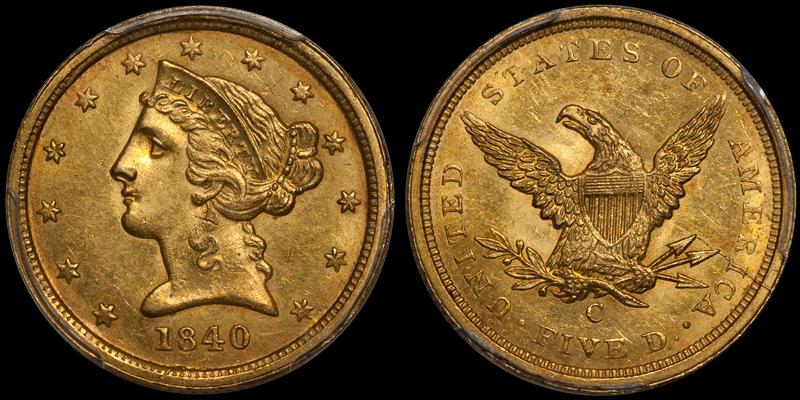 1840-C $5.00 PCGS MS63 CAC