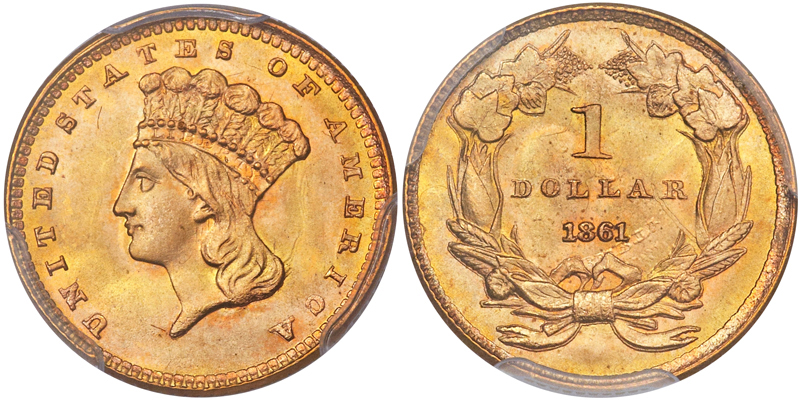 1861 $1.00 PCGS MS67+ CAC, image courtesy of Heritage