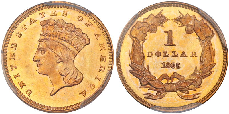 1863 $1.00 PCGS MS68 CAC, image courtesy of Heritage