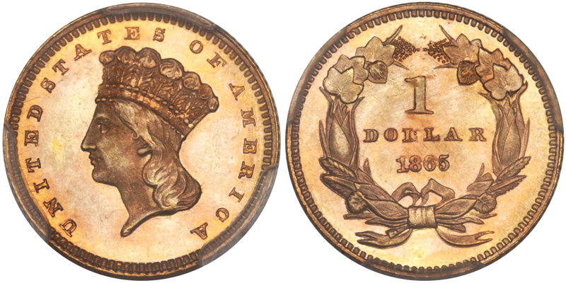 1865 $1.00 PCGS MS66 CAC, image courtesy of Heritage