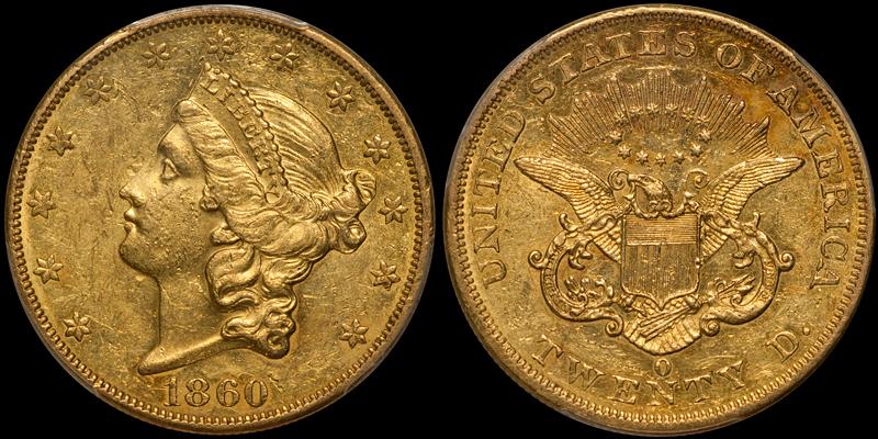 1860-O $20.00 PCGS AU58 CAC