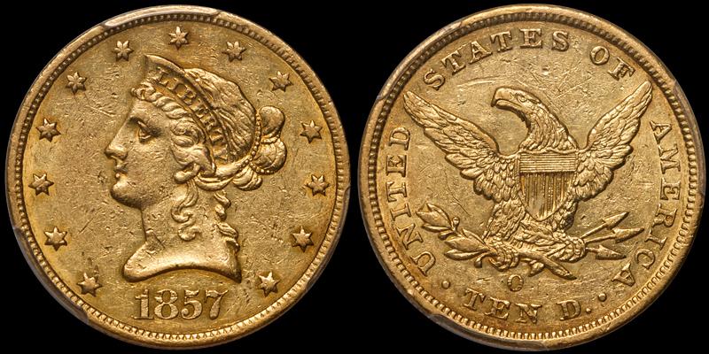 1857-O $10.00 PCGS AU53