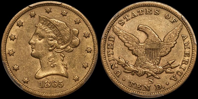 1865-S $10.00 PCGS AU53 CAC