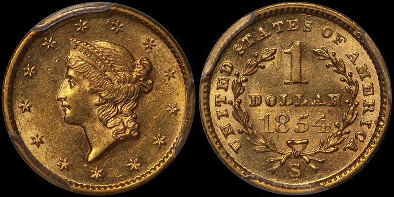 1854-S $1.00 PCGS MS64+