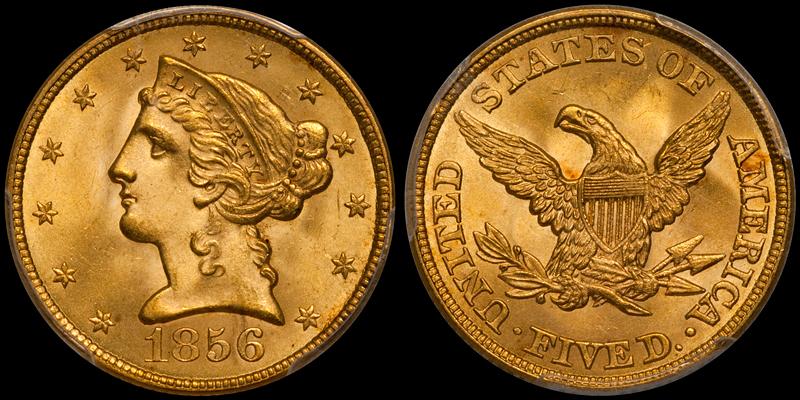 1856 $5.00 PCGS MS65+ CAC