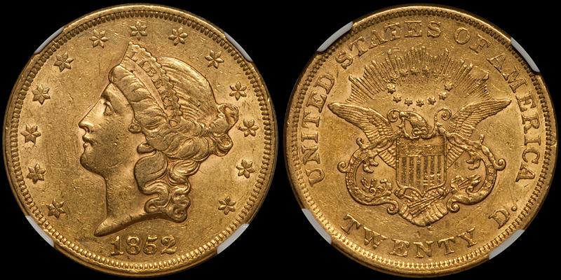 1852/1852 $20.00 NGC AU55 CAC