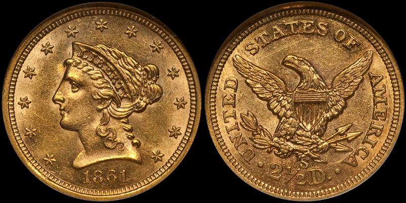 1861-S $2.50 NGC MS61