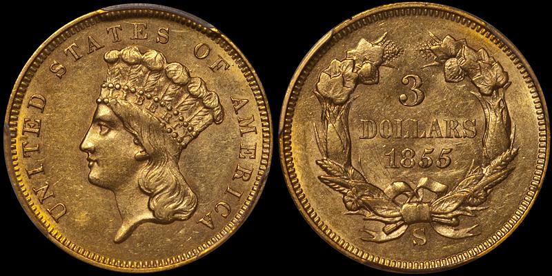 1855-S $3.00 PCGS MS61