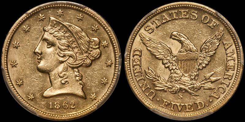 1862-S $5.00 PCGS MS61