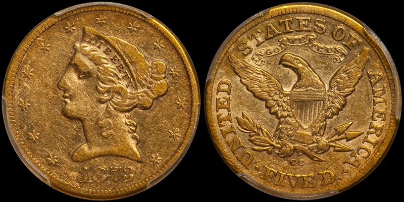 1873-CC $5.00 PCGS VF35