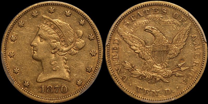 1870-CC $10.00 PCGS EF45