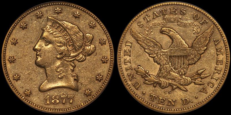 1877-CC $10.00 PCGS EF45 CAC