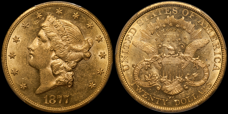 1877-CC $20.00 PCGS AU58 CAC