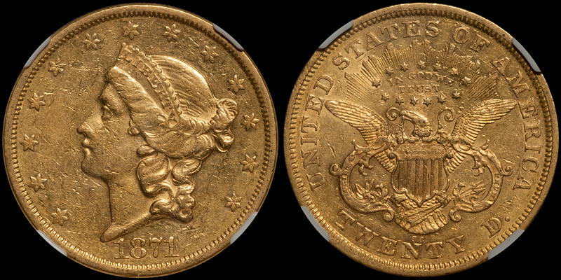 1871-CC $20.00 NGC AU55