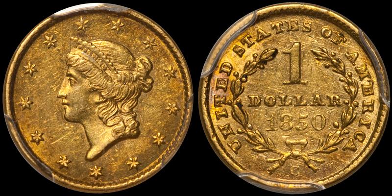 1850-C $1.00 PCGS AU55 CAC