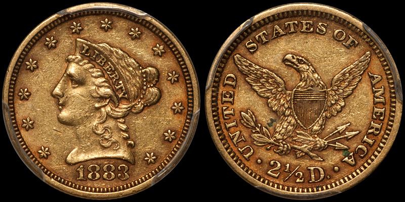 1883 $2.50 PCGS AU53 CAC