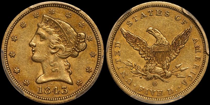 1843-O Small Letters $5.00 PCGS AU50 CAC
