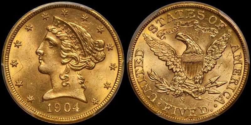 1904-S $5.00 PCGS MS64 CAC