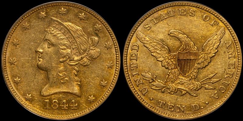1844 $10.00 PCGS AU55 CAC