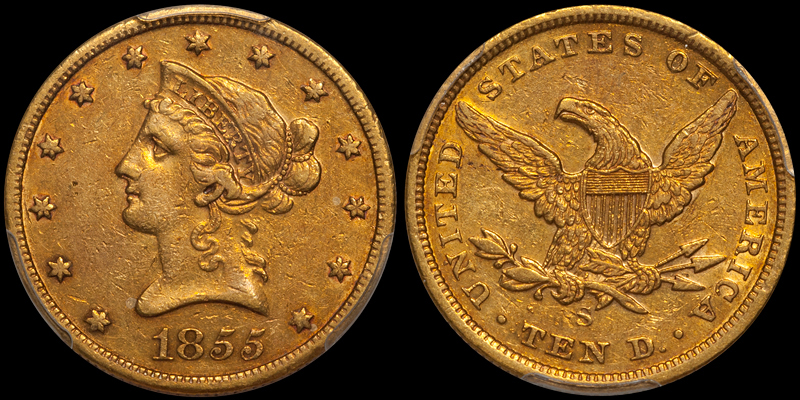 1855-S $10.00 PCGS EF45 CAC