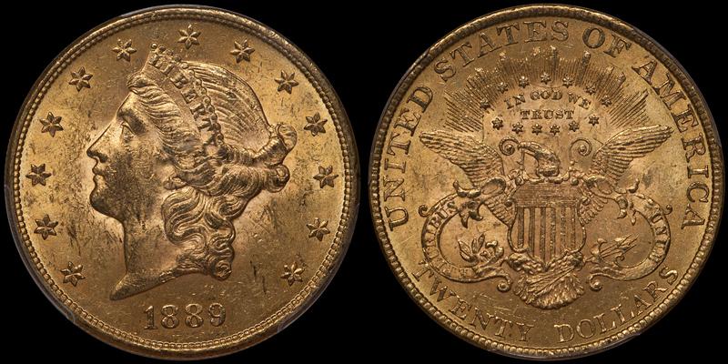 1889 $20.00 PCGS MS62 CAC
