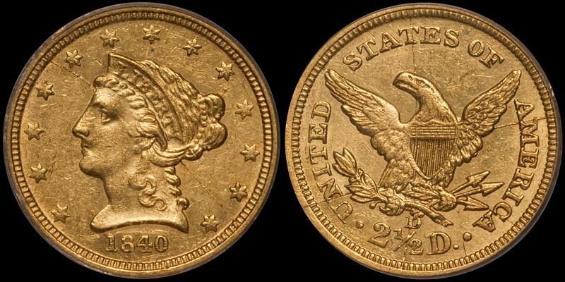 1840-D $2.50 PCGS AU58 CAC
