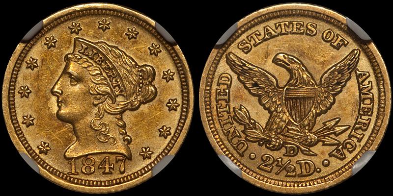 1847-D $2.50 NGC AU58+ CAC