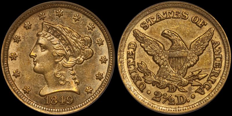 1849-D $2.50 PCGS MS60 CAC