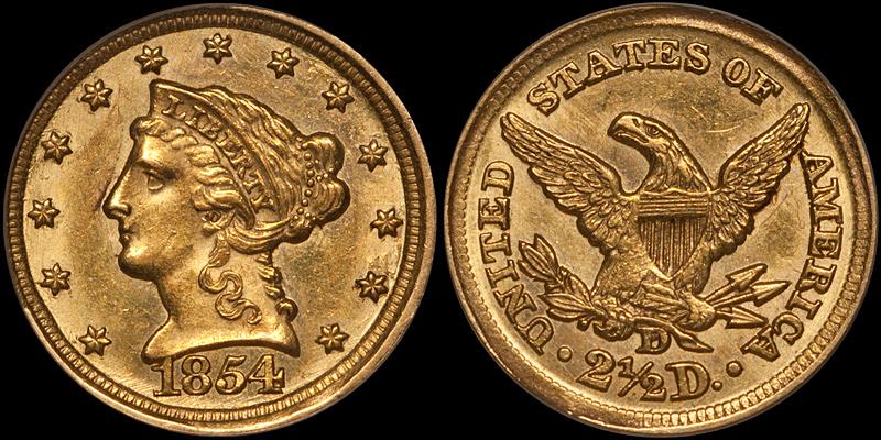 1854-D $2.50 PCGS AU58 CAC