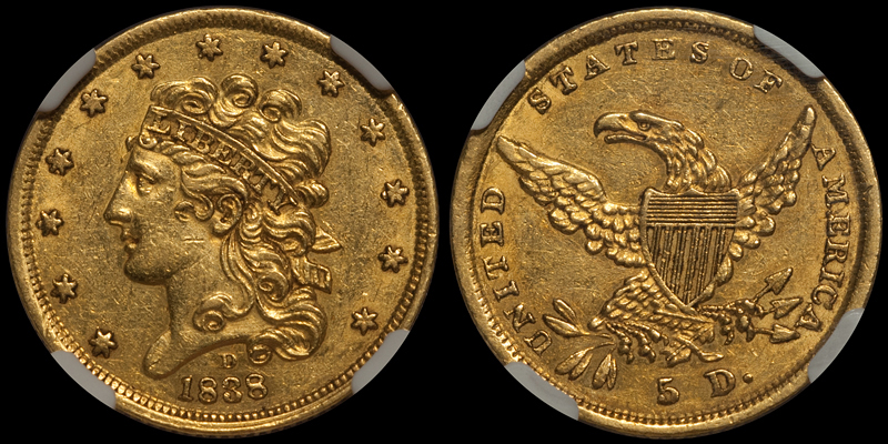 1838-D $5.00 NGC AU58 CAC