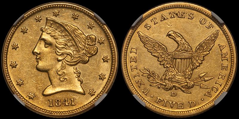 1841-D $5.00 NGC AU58 CAC