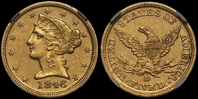 1846-D $5.00 NGC AU55 CAC