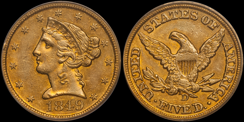 1849-D $5.00 PCGS AU58 CAC