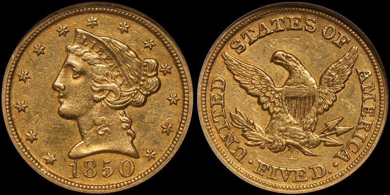 1850-D $5.00 NGC AU58 CAC