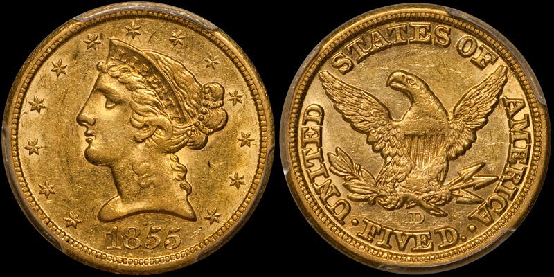1855-D Medium D $5.00 PCGS AU58 CAC
